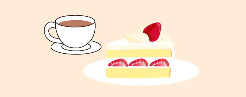 ケーキと紅茶