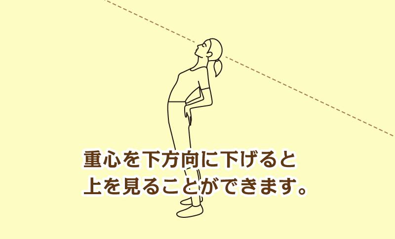 重心を下方向に下げると上を見ることができます。